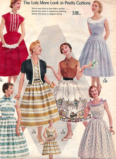 theniftyfifties:  Summer dress catalogue fashions, 1950s.