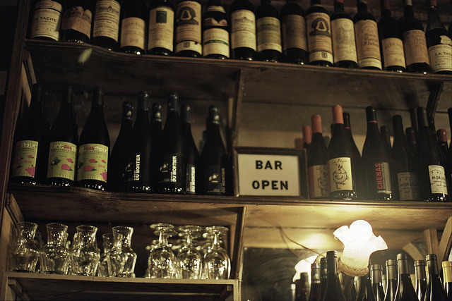 Analog Bars: Bottles on the Wall at Marlow & Sons.