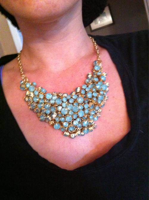 Found this amazing statement necklace at Target for $30 thanks to Real Simple magazine! I'm in love, I feel like Carrie Bradshaw with it on.