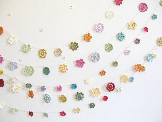 Minimalist Crochet Beauty. Bliss. Forever Flower Garland - handmade to order from emmalamb Her Etsy store is pure loveliness.