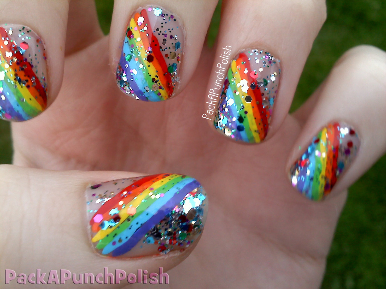 Day 9: RAINBOW nails  I had something completely different on my nails and majorly messed it up. To be honest… I had no extra energy to do my nails again so this is all I could make myself do last night. They're not too terribly bad…. right?  Claire's Bedazzled Rainbow done with acrylic paint