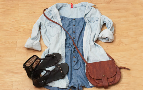 011488:  double denim outfit Denim Romper / H&M Denim Button Shirt / brown bag / black ankle sandals