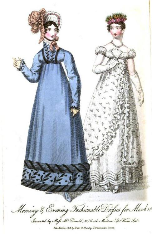 Lady's Museum, Morning and Evening Dresses, March 1818.  I MUST HAVE THEM BOTH!