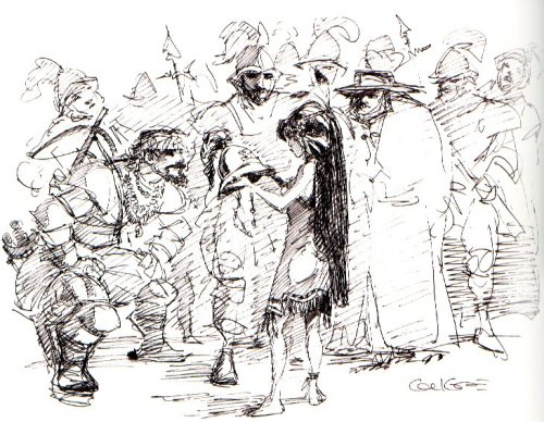 therotoscopers:  Concept Art - Pocahontas (1995) - Early design Pocahontas with settlers - Glen Keane
