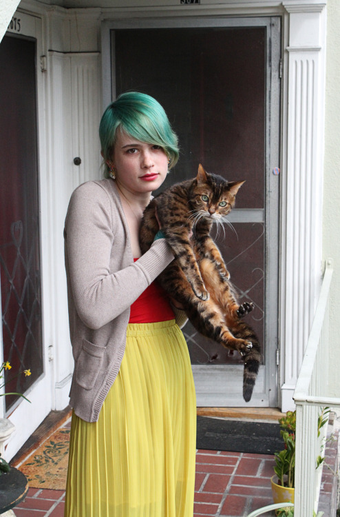 my girlfriend with our fugitive cat