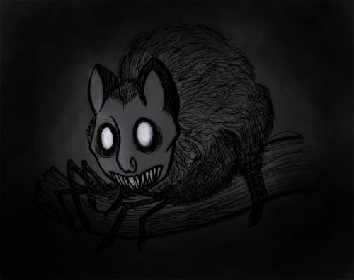 I wanted to draw a creepy critter for my friend, and inspired by this much cuter picture of an Aye Aye by Nadilyn Beato, I drew this… AyeAye rat thing? Based off this photo from google. I dunno. haha