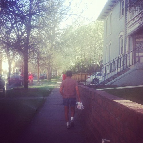 short shorts. (Taken with instagram) this man is a fixture in my old cheeesman park neighborhood; he's out and about all day.  when i lived there three years ago, i would see him every day while i was out walking boo.  he is very quiet and polite, barely talks to me, but loves dogs.  cute.  as soon as the weather gets slightly warm and sunny, he breaks out the short shorts-  tennis shorts, cut-off denim shorts, madras plaid shorts…  all SHORT SHORT!  and he is very, very tan and leathery.  even though i try to keep my age a bit of a mystery through good skin care, i kind of love when one's skin tells a story.   sadly i don't know his whole story, but, because i like to notice things, i have a little information.  he lives in an apartment building right across the street from the house where i last lived.  i didn't know this until two weeks ago when i saw him on his balcony.  he may be a hoarder or an ebay store owner or the master of upcycling because he digs through alleys and dumpsters and always comes up with some sort of lamp or mirror or other coveted object.  what does he really do with all that stuff?  we may never know.