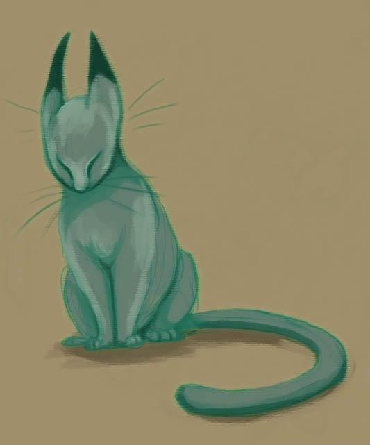 Sketchbet day 77: more cats, because I like drawing them. I should do more 'cats in light' paintings. The original sketch was drawn with Autodesk Sketchbook Copic, but I found the program to be very frustrating to color and draw with, so I did the rest of the coloring with photoshop.