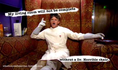 """My living room will not be complete without a Dr. Horrible Chair."""