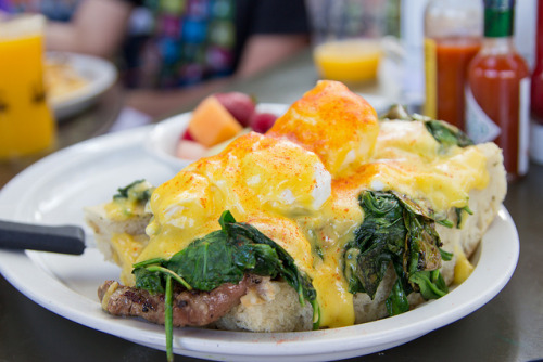 Alcove Cafe & Bakery The perfect hip social LA brunch spot with outdoor seating. Why not dine with your sunglasses on, I love it. A people watching like environment and the crowd is plentiful. We ordered the steak benedict, crab benedict, and the poached eggs over lox. All dishes were good but not the best LA has to offer. I would recommend going here for a solid brunch and the whole hanging out experience.