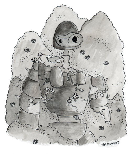 Laputian Robot - Pen and ink wash