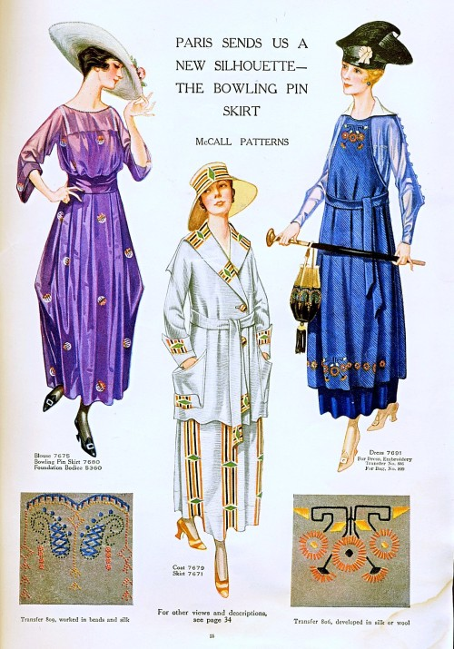 "Day dresses, jacket and fashionable motifs, 1917 US, McCall's Magazine Couldn't they have come up with a more flattering name for it than a ""bowling pin skirt""?  It's like a couple years ago when they were trying to bring back drop-crotch pants by calling them ""carrot fit""."
