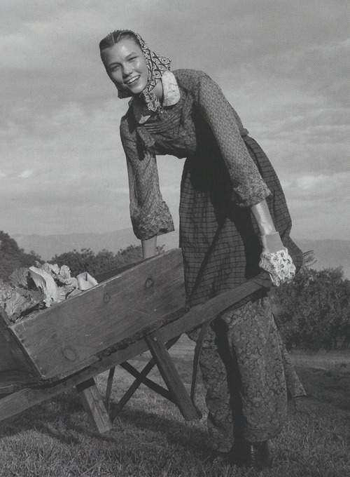 "Vintage Karlie on the farm / ""Living Green"" by Steven Meisel"