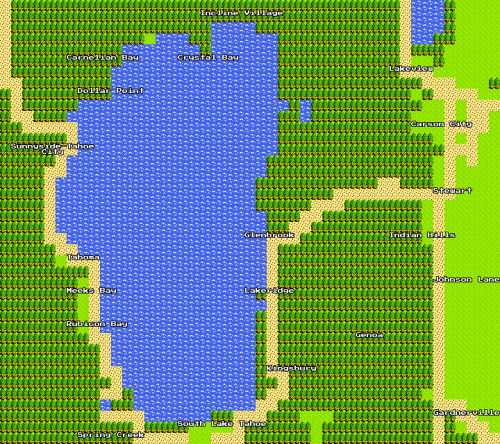 Lake Tahoe 8 Bit Google Maps, plus a bunch of cool stuff I found exploring the map; landmarks, monsters, and a panda.