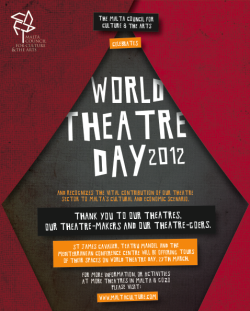 Poster for World Theatre Day in Malta