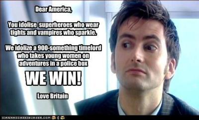 "I keep seeing this and as much as I agree with the sentiment that the Doctor is much cooler than Edward Cullen or many American superheroes, I really hate the way it is expressed here.  Here we imply that men wearing tights or being sparkly is a bad thing.  Why is it bad?  I think it's awesome.  Furthermore, why is a really old man snatching up girls much younger than him a good thing?  Why is that something to be proud of?  Because it shows off his uber-masculinity?  It's so creepy to me how they say ""young women,"" as if the age is the most important thing. I love David Tennant and I love Doctor Who, but I really can't stand this.  Besides, they use two different spellings for the word ""idolize"".  UGH."
