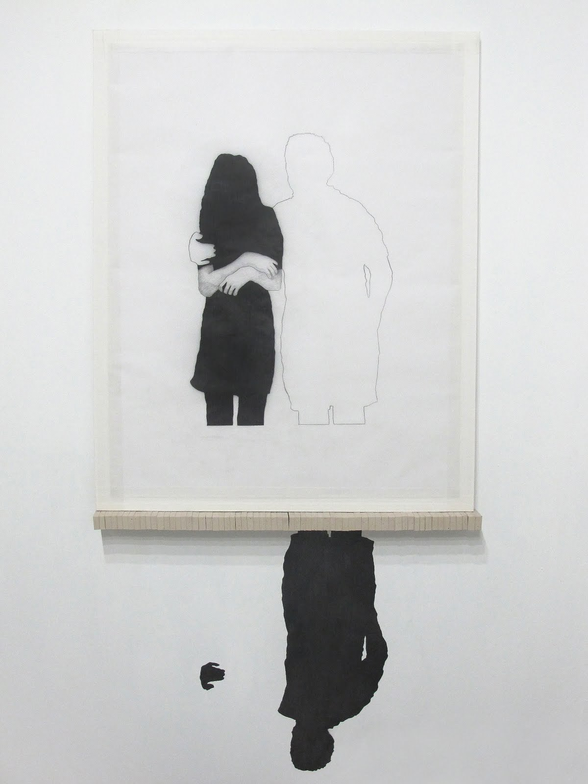 contemporary-drawing:  Diana Shpungin, Under Taken, 2011, drawing installation, 26.5 x 56 inchespencil on paper, pencil on wall, archival mounting board, medical tape, erasers.