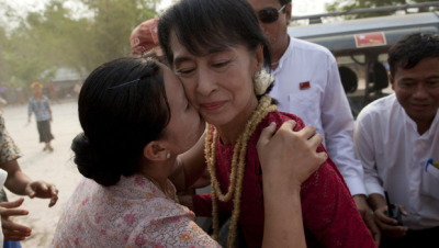 thepoliticalnotebook:  Myanmar's opposition are claiming a victory for Aung San Suu Kyi in her parliamentary seat race. If confirmed, this marks a major milestone, both for the globally noted pro-democracy activist and her followers, and for Myanmar as a country. [Mikhail Galustov/Getty]