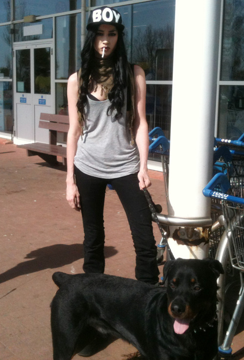 yousayitsallinmyhead:  felicefawn:  Me and my puppy <3  :D