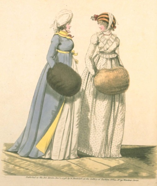 Gallery of Fashion, December 1798.  Ooooh I love both of these!  The yellow lining and accents on the blue is great, and the whole cut and fit of the white is charming!  I especially love the very subtle puffs on her sleeves!