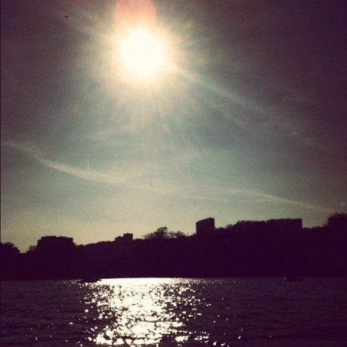 on a boat in a lake, on a sunny day (Taken with Instagram at Parc de la Tête d'Or)