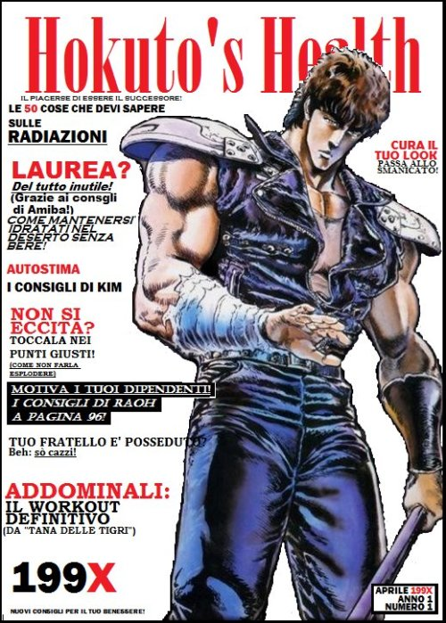 Il pin-up del giorno: Hokuto's Health No Ken. Non so chi sia l'autore, ma ho ghignato.