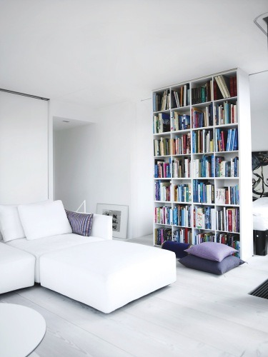 bookshelves to divide a small space (via COCOCOZY)