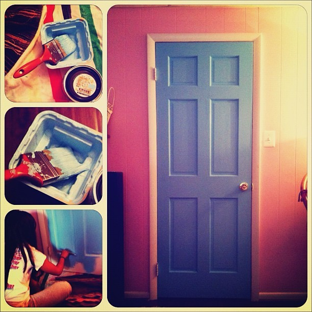 Finally got around to painting my door. Step 1 of room renovation: complete.