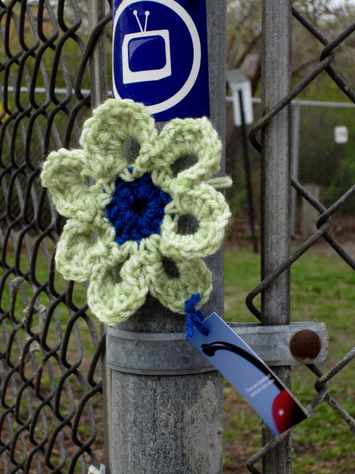 Occupying this fence w/ @MPLSTV #yarnbomb