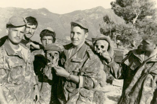 "talesofwar:  Some men of the Marine commando Montfort playing with human skulls in Algeria. The attitude of French commandos in Algeria has been greatly criticized, because of their use of torture on prisoners and their ruthless behaviour with locals. One of the many things giving to the Algerian war the nickname of ""dirty war""."
