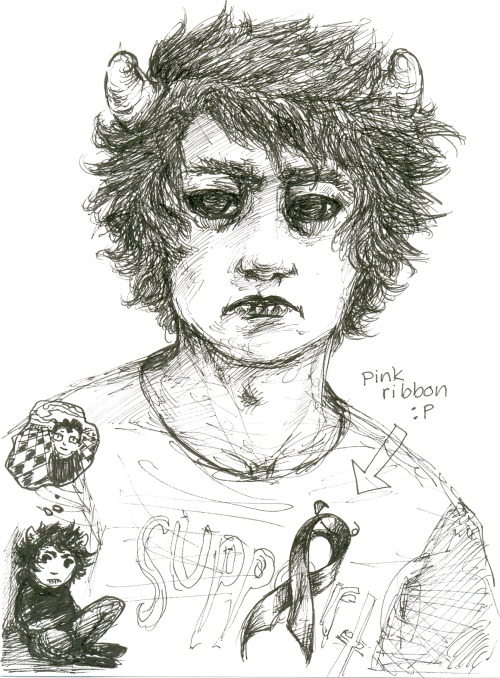 karkat probably marchingstuck inspired 'cause that random pink ribbon t-shirt