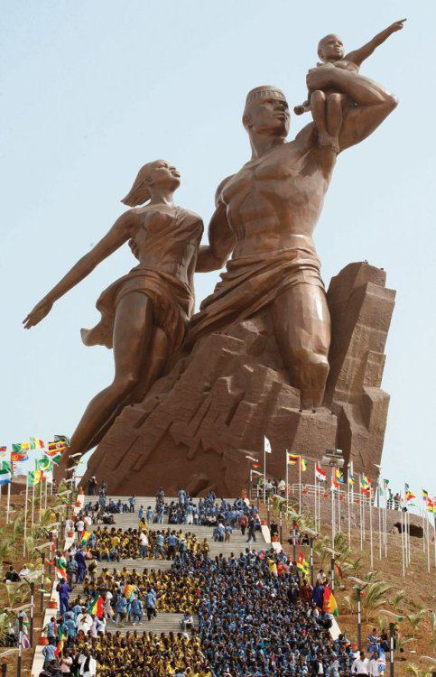 black-culture:  The African Renaissance Monument (French: Le Monument de la Renaissance africaine) is a 49m tall bronze statue located on top of one of the twin hills known as Collines des Mamelles, outside of Dakar, Senegal. Built overlooking the Atlantic Ocean in the Ouakam suburb, the statue was designed by the Senegalese architect Pierre Goudiaby after an idea presented by president Abdoulaye Wade and built by a company from North Korea. It is the tallest statue in Africa.