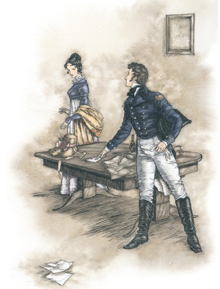 "austenmeadow:  ""She had only time, however, to move closer to the table where he had been writing, when footsteps were hear returning; the door opened; it was himself. He begged their pardon, but he had forgotten his gloves, and instantly crossing the room to the writing table, an standing with his back towards Mrs Musgrove, he drew out a letter from under the scattered paper, placed it before Anne with eyes glowing entreaty fixed on her for a moment, and hastily collecting his gloves, was again out of the room, almost before Mrs Musgrove was aware of his being in it - the work of an instant!"" (Persuasion - Chapter XI)"