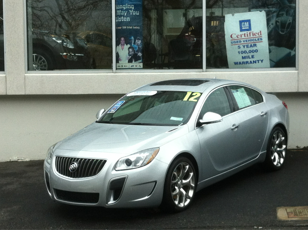 "Buick Regal GS at the dealership yesterday. Looks good but as for the name they're using, they should just call it ""Sport."" How grand can a 2.0 liter GM motor be?  This goes for lots of companies resurrecting old names with decades of heritage. Please stop!"