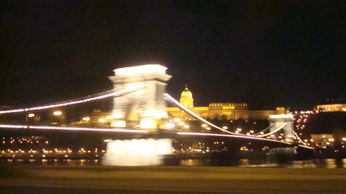 A night view of the Chain Bridge and the Buda side of the city.