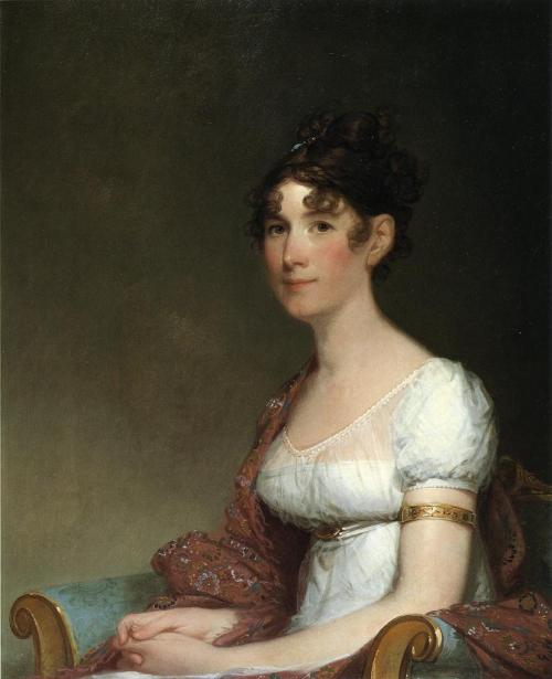 Gilbert Stuart - Mrs. Harrison Gray Otis (c. 1809)  If you look closely, you'll see another figure of what looks like a young boy.