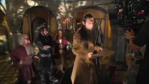 "lorienscribe:  illythia:  Behind the scenes The Hobbit Bilbo, Dwarves and Elrond… and Gandalf is ""hiding""looool  ELROND! ♥ ♥ ♥ I cannot wait till I watch this scene on the big screen! :)  STOP IT I CAN'T HANDLE IT Elrond and Thorin and Gandalf AND BEHIND THE SCENES PICTURES THAT SHOW THEM FILMING IT IS TOO MUCH I WANT IT ALL"