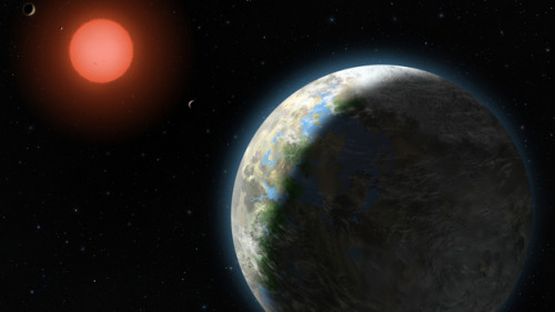 Artist's conception of the Gliese 581 system, ~20 light years from Earth