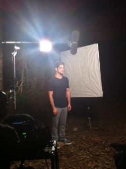 teenwolf:  Tyler shooting some promos in the woods