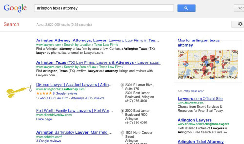 "#1 ""Arlington Texas Attorney"" Google Places Rank for Jim Ross & Associates."