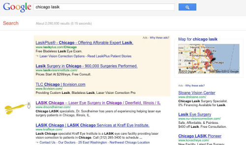 "#1 ""Chicago Lasik"" rank for Stuart Sondheimer M.D."