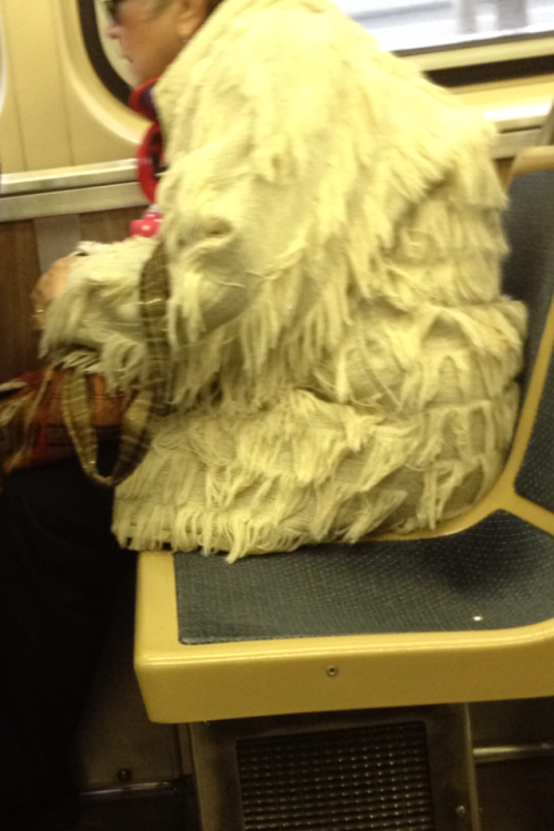 Swiffer makes coats now. That must be handy for cleaning up those el seats.  Thanks for your help, fashion disaster!