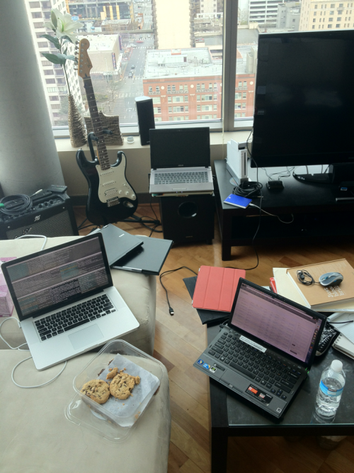 Our primary sustenance this weekend has been cookies, brownies, and computers.