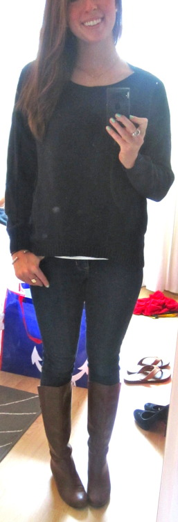 old OOTD: love this comfy navy blue sweater :) F21!