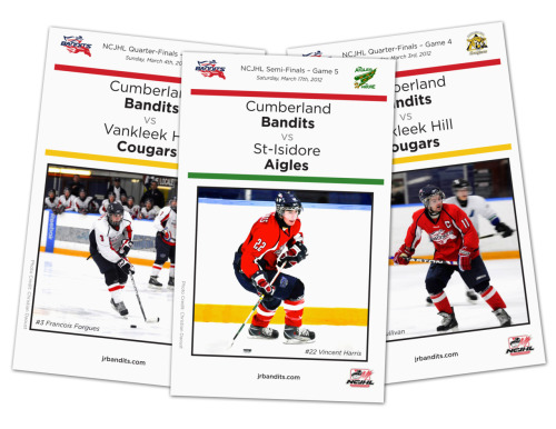 Program and sign design for the Cumberland Bandits Junior hockey team