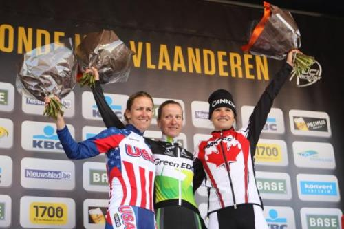 Tour Of Flanders - Women 2012: Podium, Photos | Cyclingnews.com 1.   Judith Arndt (Aus) GreenEdge-AIS, 3:19:052.   Kristin Armstrong (USA) USA, + 00:023.   Joëlle Numainville (Can) Canada, + 00:304.   Kirsten Wild (Ned) AA Drink-Leontien.nl, s.t.5.   Adrie Visser (Ned) Skil-Argos, s.t.6.   Ellen van Dijk (Ned) Specialiazed-lululemon, s.t.7.   Loes Gunnewijk (Ned) GreenEdge-AIS, s.t.8.   Christine Majerus (Lux) GSD Gestion, s.t.9.   Anna van der Breggen (Ned) Sengers, s.t.10. Alena Amialysik (Blr) Be Pink, s.t. More photos from the women's RvV on Cyclingnews