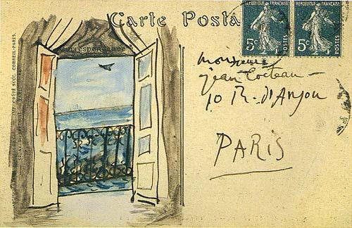 artistandstudio:  Pablo Picasso postcard to Jean Cocteau, St.-Raphaël 1919  someone should send me postcards like that. or maybe i should.
