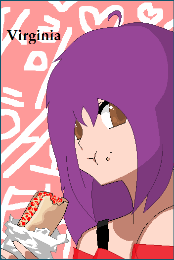 "Another one of my Hetalia Oc's,Virginia! ^ ^Virginia:""OMNOMNOM BURRITO!""Me:*sweatdrop*eeto……""Base~~:[link]INFO ON VIRGINA-Human Name:Serena-Age:20-Height:6'1""-Likes:music,drawings,cute things-Dislikes:being ignored(she'll kick ya)-Saying:""I'll take you out of the gravity""-Trans(Lithuanian):""As jus is gravit""PS:yes Serena's family was originally from Lithuania and the whole back story i made is long so send me a note if ya wanna know morecomment and fav if ya like  Submitted by insertfakeurlhere. Why does she have purple hair. And why is she THAT tall? From what the handy online calculator is telling me, 6'1"" is about 1.85 m, and that'staller than usual for women. So she definitely shouldn't be that tall at all. And why is a Virginia OC from Lithuania? Is there a large amount of Lithuanian immigrants in Virginia? Wouldn't she originally be from England, because of the whole ""English colony"" thing? It's kind of one of the FIRST English colonies, if my US history isn't off. Wait…is this one of those OCs that was originally a human, but was turned into a Hetalia nation-tan? What the fuck, how does that happen. Virgina is so much older than the wave of immigrants that introduced Lithuanian-born people into the United States. Is she a time-traveller? Or an alien? That's really the only logical option, I suppose. I mean, that explains the purple hair."