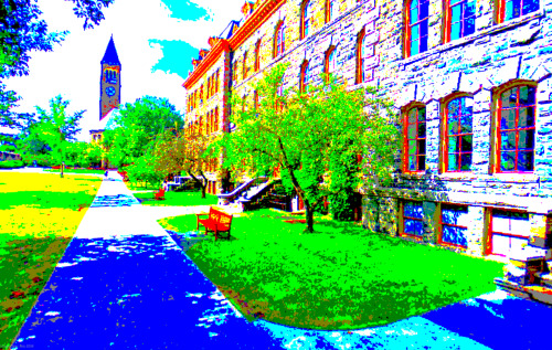 digalog:  Cornell's campus on (Google's) 8 bit acid.  Shah(s) look at how pretty your campus is on Google Quest.