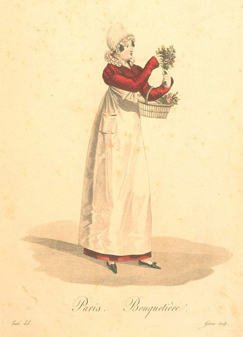The Workers of Paris, Bouquetiere (flowergirl), 1824.  Isn't she a beauty?  I love the bright color of her gown hidden behind a plain, white apron (with a pocket!), her lavish chemisette ruffle, and those cute little shoes!